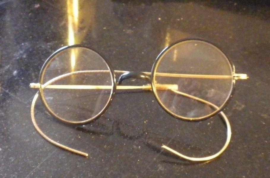 Vintage 1915 Eyeglasses Spectacles Gold Black Broken Eye Glasses Edwardian Era Glasses Spectacles Black Gold