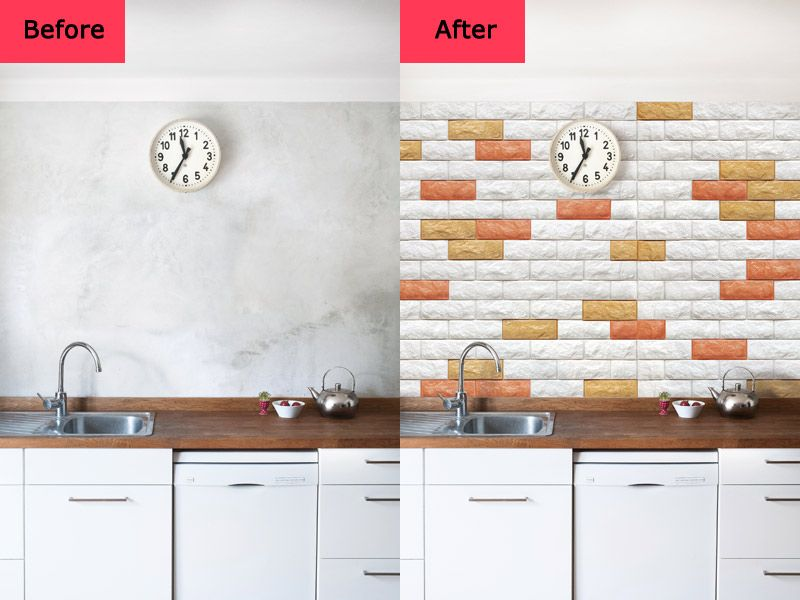 Before and After for Peel & Stick 3D Wall Panels Foam Block Brick ...
