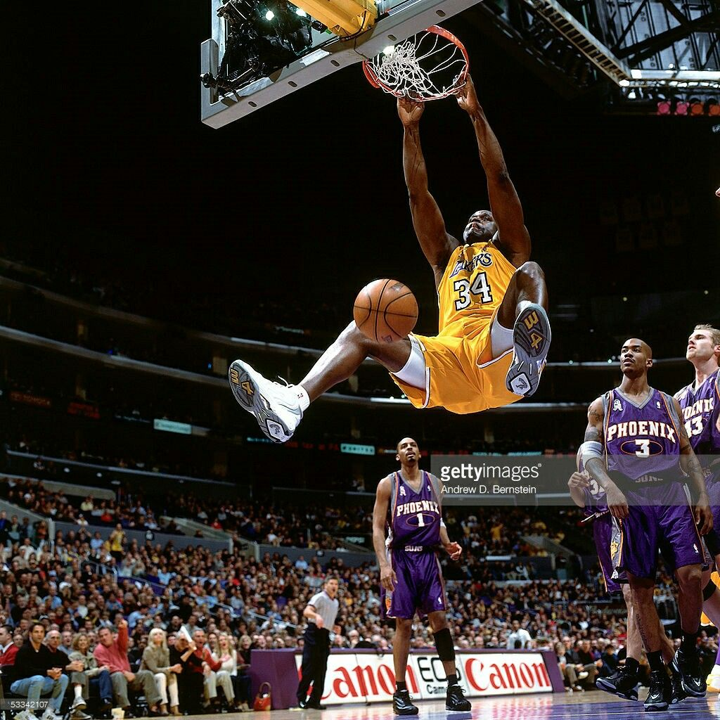 bd14a0b3d44d3 Shaq with his trademark slam dunk and hang | They're Playin ...