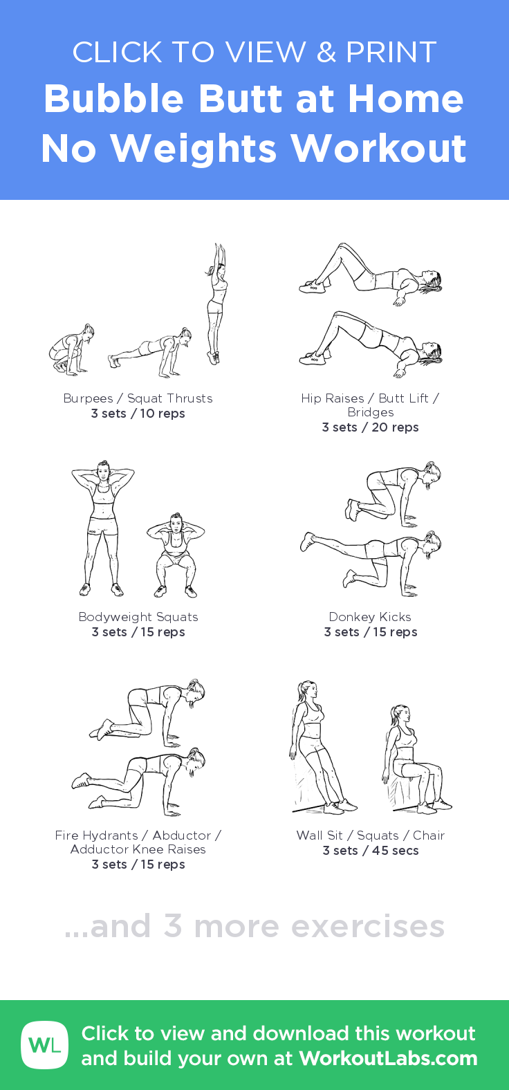 bubble butt at home no weights workout click to view and print this illustrated exercise plan. Black Bedroom Furniture Sets. Home Design Ideas