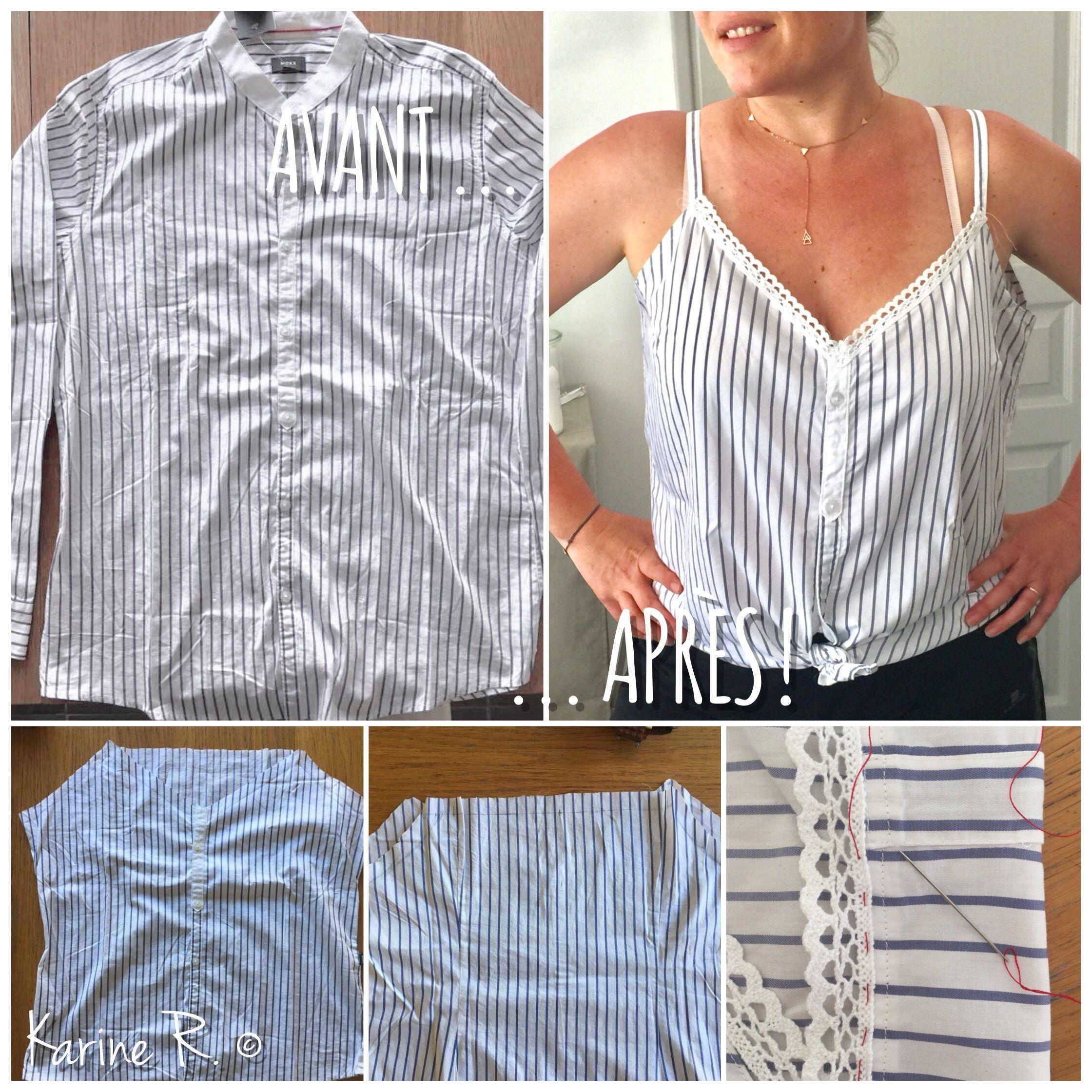 df2bd7421 Transformer une chemise Homme en débardeur Femme ( par Karine R ...