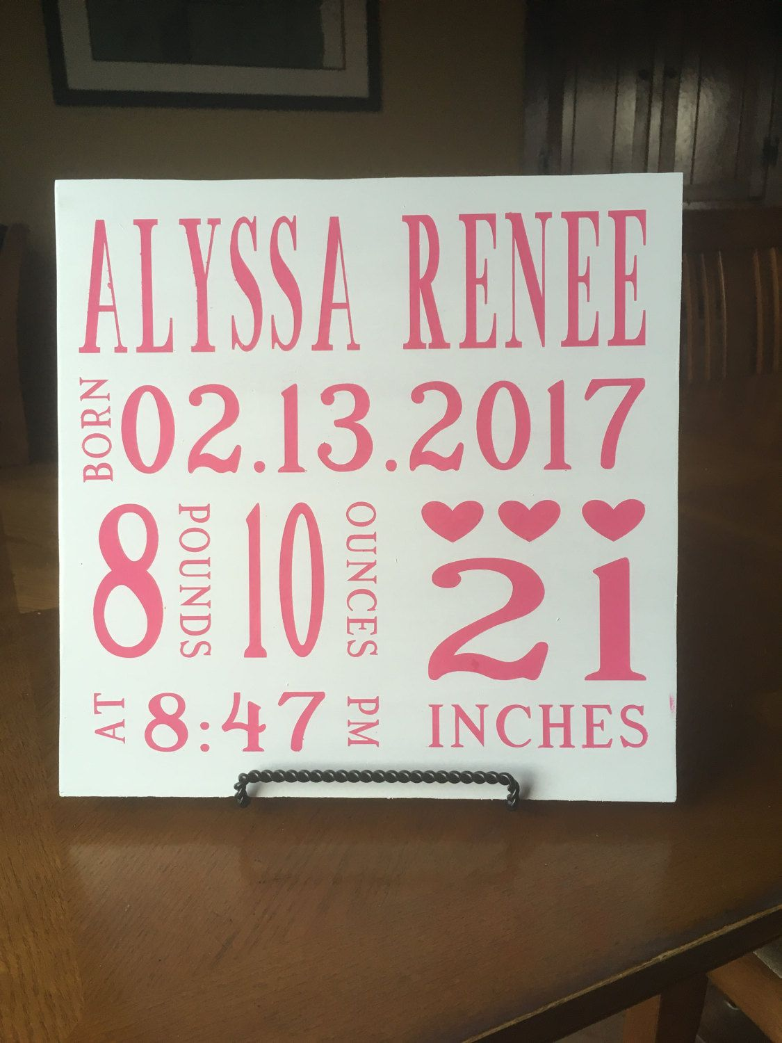 Baby announcement sign, personalized sign, customized sign