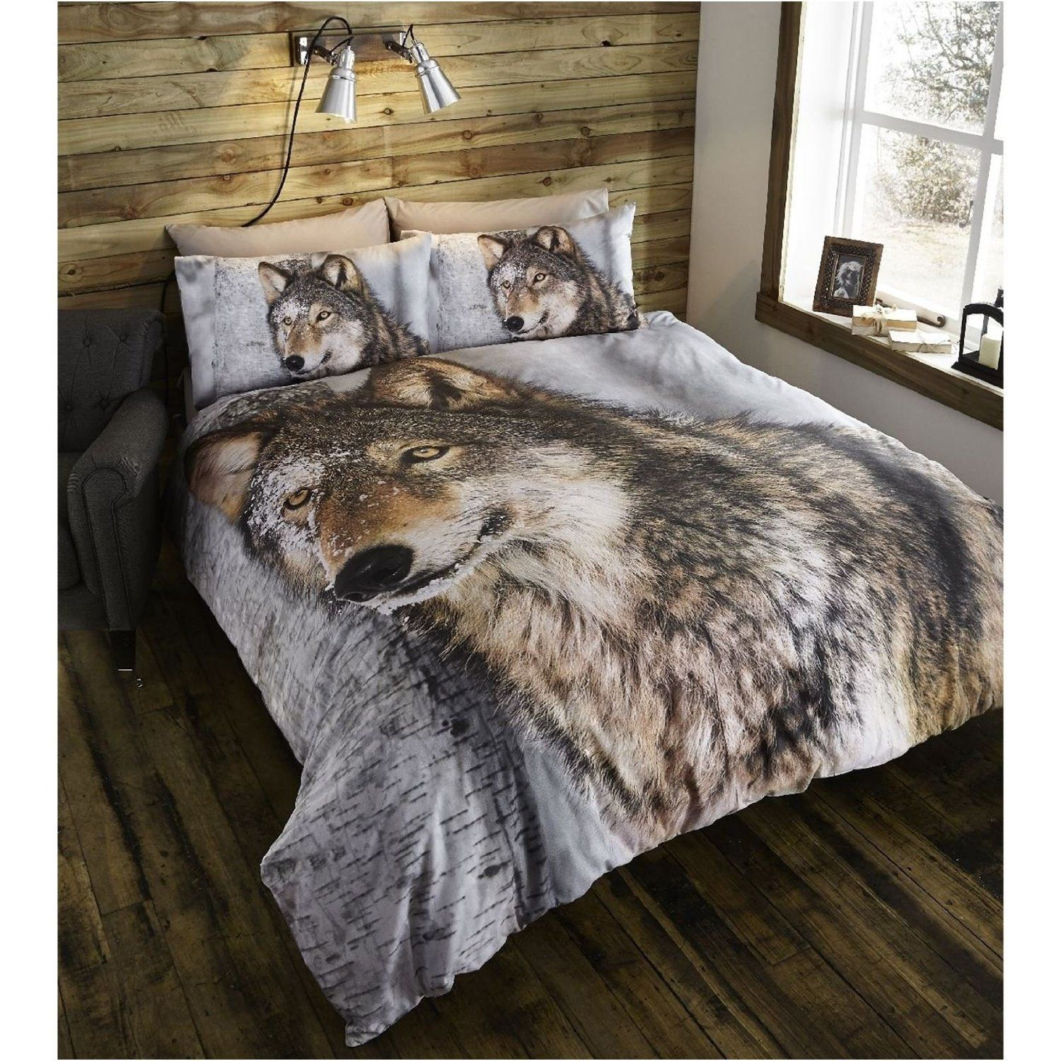 Double Duvet Cover U0026 Pillowcases Bedding Bed Set Brown Wolf Animal: Amazon .co.