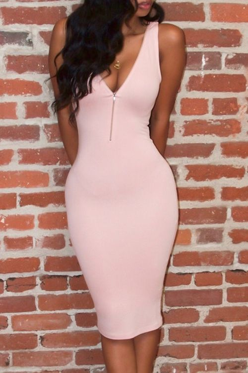72fd1a6c1d6 Pink Plunging Neck Sleeveless Bodycon Dress PINK  Bodycon Dresses ...