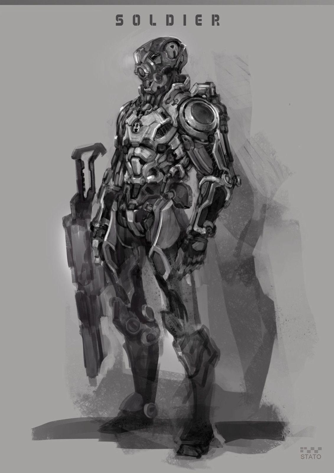 Sci-fi Future Cyborg Soldier in exoskeleton armor 01~08, Stato Ozo on ArtStation at https://www.artstation.com/artwork/d9VlQ
