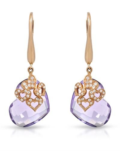 FALCINELLI-Made in Italy - Heart Earrings With 16.24ctw   Genuine Amethysts and  Super Clean Diamonds  18K Rose Gold. Total item weight 7.7g  Length 38.5mm - Certificate Available. | Bidz.com Jewelry Auctions