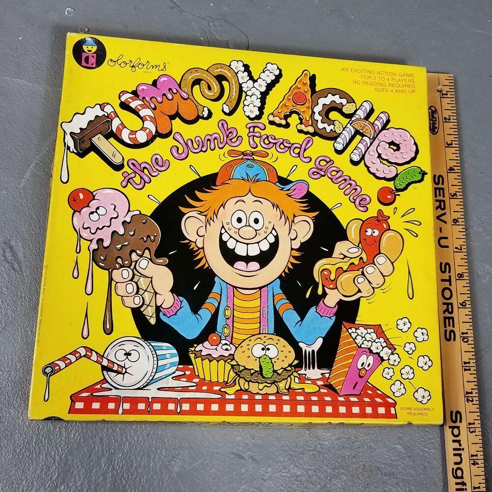 Vintage Colorforms Tummy Ache game Rare! Complete! 1981