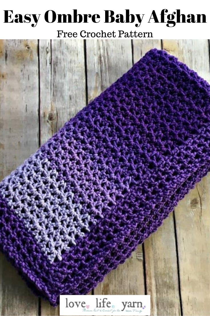 Easy Ombre Baby Blanket   Free Crochet Pattern   love. life. yarn ...