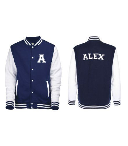 Edward Sinclair Personalized KIDS Varsity jacket with name on back and  initial on front.: Amazon.co.uk: Clothing