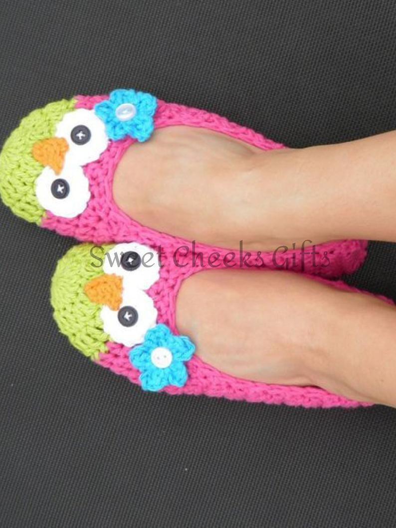 WOMEN'S Owl Slippers Ballet House Shoes Custom Made Etsy