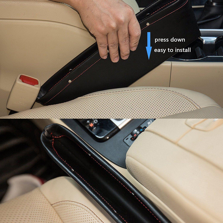 Seat Pocket Car Gap Filler Console Caddy Catcher  Item PU Leather Pack of 2