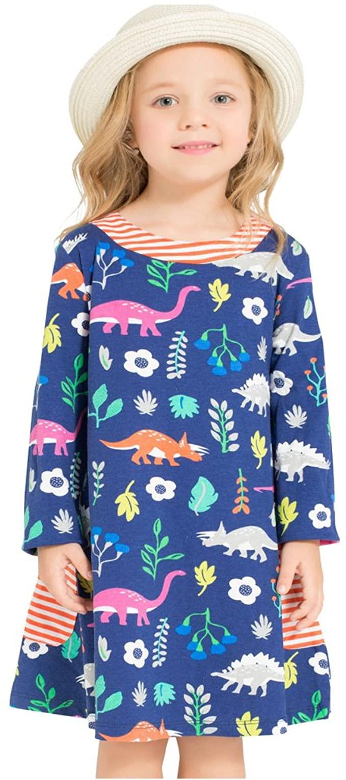 Amazon Com Bleubell Girls Navy Long Sleeve Dress Dinosaur For Toddlers Tweens 5t Clothing Girls Dinosaur Dress Long Sleeve Cotton Dress Dinosaur Dress [ 1531 x 679 Pixel ]