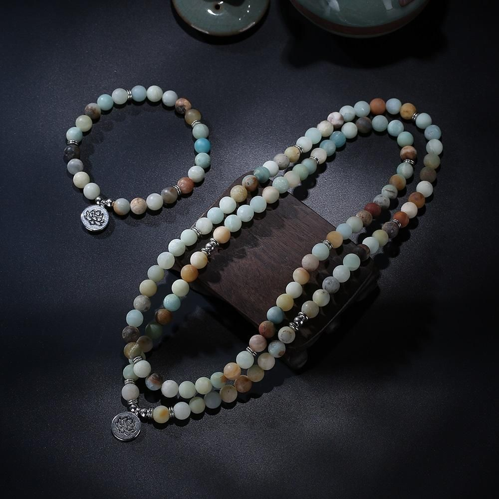 Matte amazonite beads lotus charm mala set buddhist prayer lotus