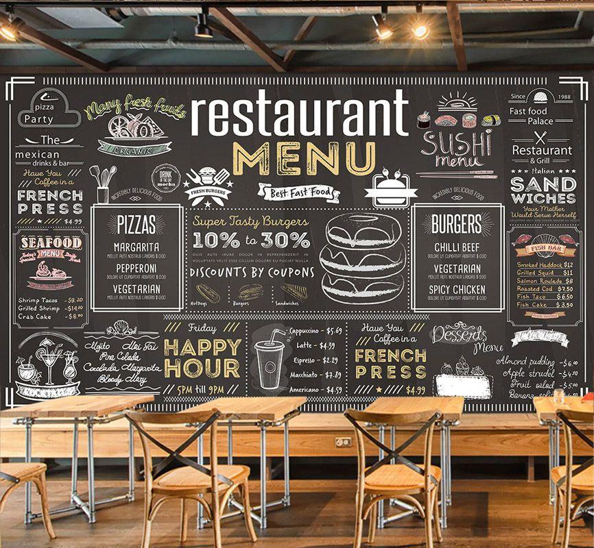Online Shop Bacaz Vintage Menu Bill Wallpaper Mural For Coffee Cafe Restaurant Hotel Background 3d Wal In 2020 Cafe Menu Design Coffee Shop Menu Coffee Shop Menu Board