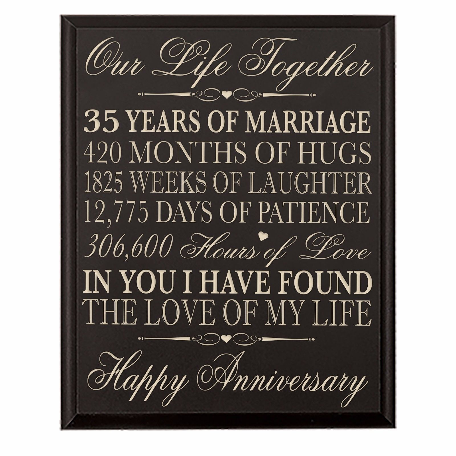 35ThWedding Anniversary Wall Plaque Gifts For Couple