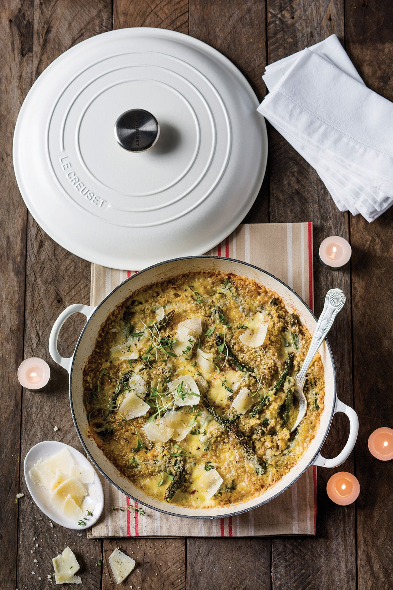 Le Creuset Cotton Classic Buffet Casserole // Asparagus and Mascarpone Gratin