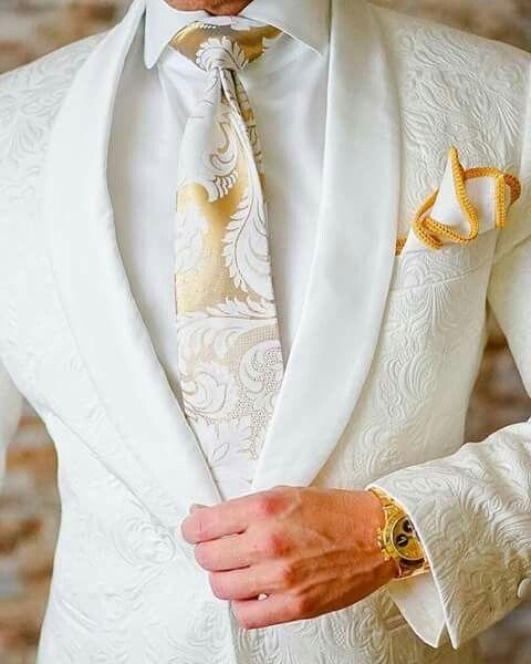 gold and white wedding groomsmen attire