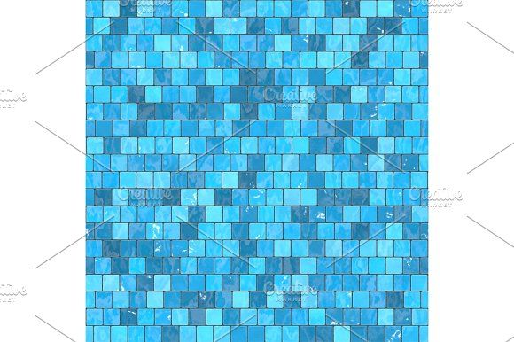 Ceramic Blue Mosaic Background Seamless Texture In Swimming Pool