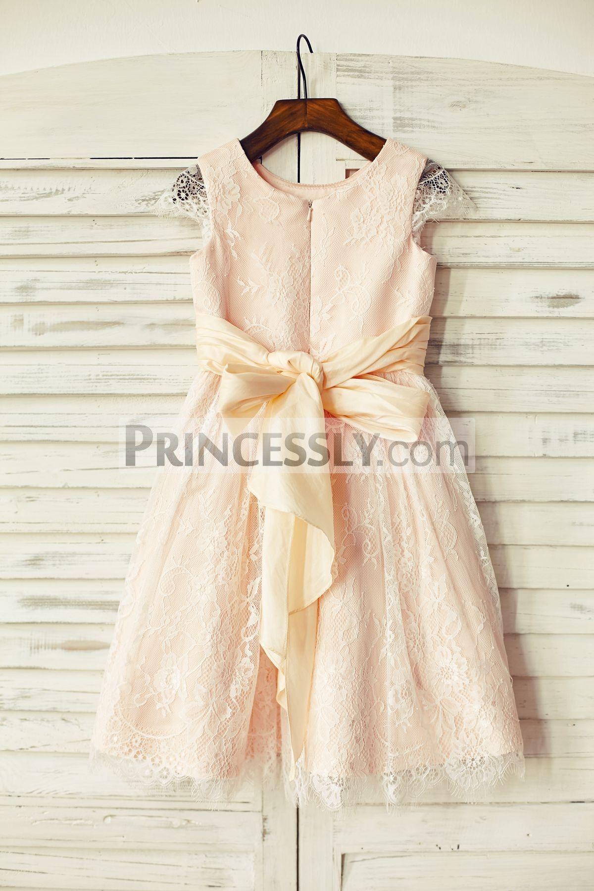 bc5bd512d90 Princessly.com-K1000190-Blush Pink Satin Ivory Lace Cap Sleeves Flower Girl  Dresses with peach sash-31