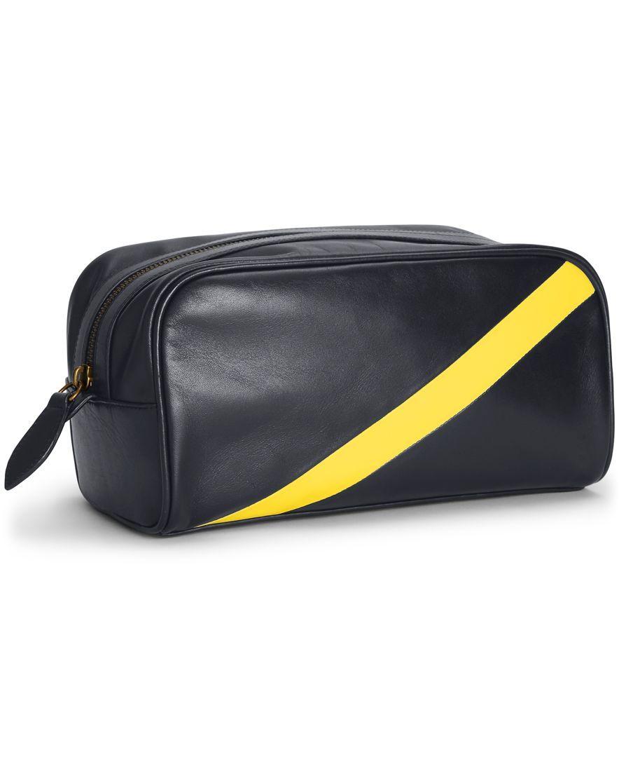 fbd81e9b3762 Polo Ralph Lauren Leather Banner-Stripe Shaving Bag