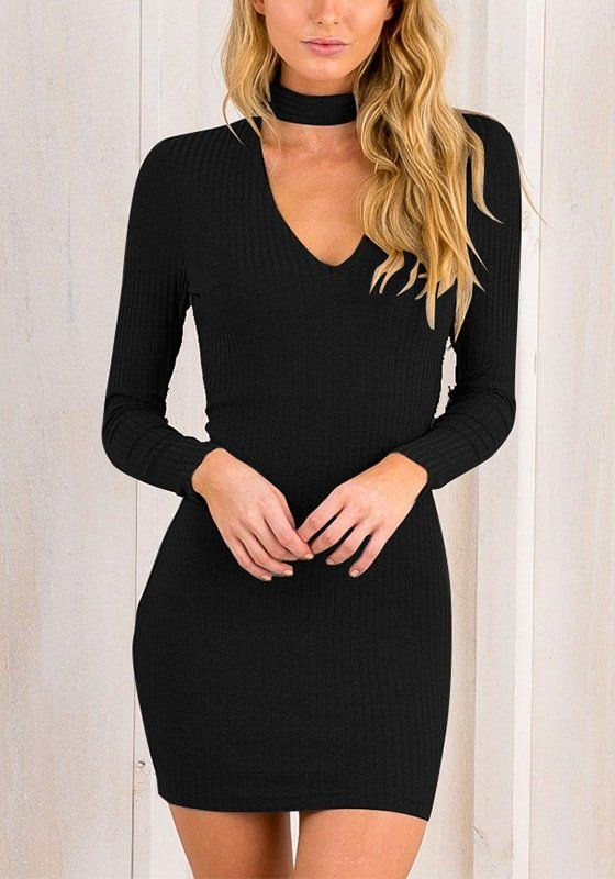 af99a9bcc6ee Black Choker-Neck Ribbed Bodycon Dress | This lovely frock is made from  stretchable fabric that will surely help you show off your curves.