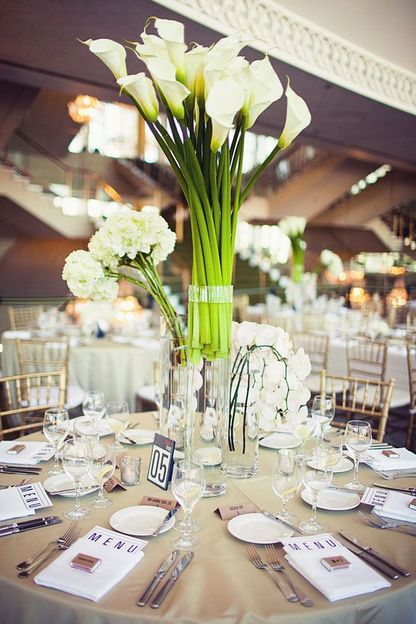 Dramatic, modern centerpieces filled with fresh white ...