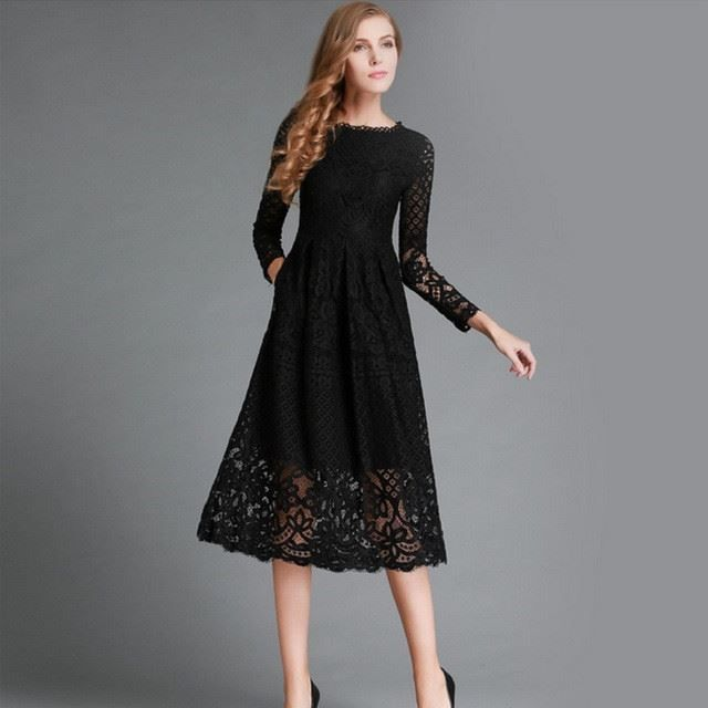 Lace Decorated Hollow Out Black White Color Mid Calf Dress For Women ... 53d910b80