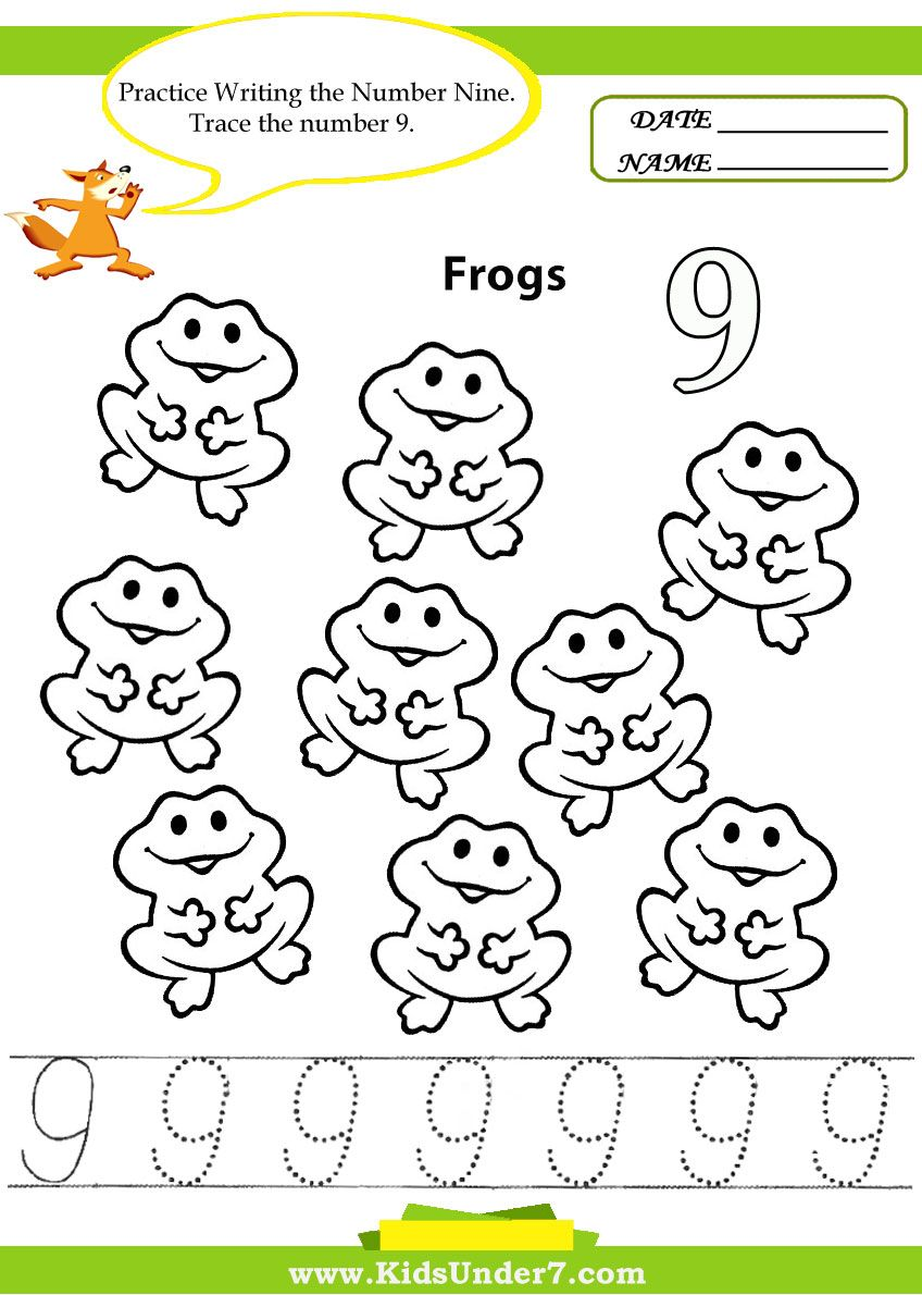 Kids Under 7 Number Tracing 110 Worksheet Part 1 – Number 9 Worksheet