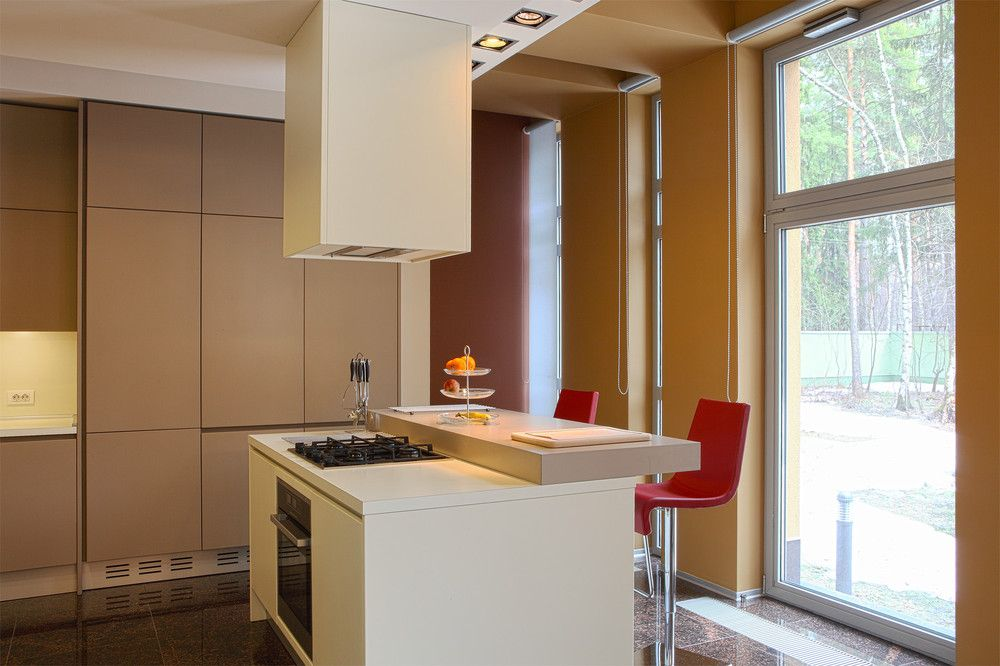 Simple Kitchen With Island simple kitchen island with over hang bar and red barstools under