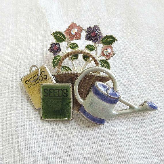 Vintage Enamel with Rhinestones Gardeners by BillsVintageVault, $14.00