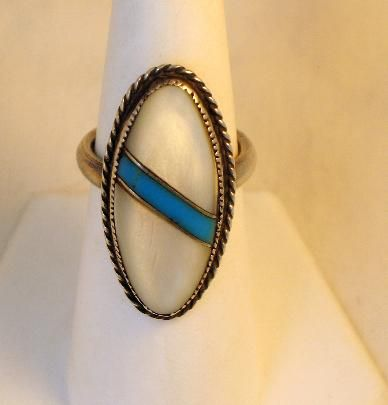 Vintage Sterling Native American Inlaid Ring