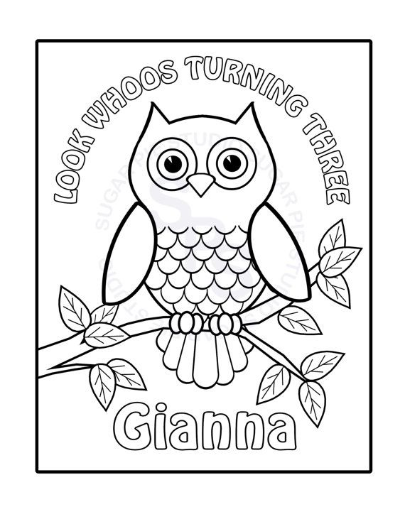 Owl Coloring Pages Pdf : Personalized printable owl birthday party favor childrens