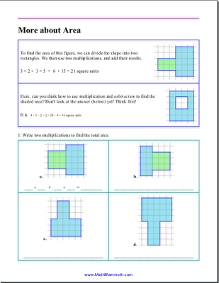 decomposing rectangles to find area worksheets - Google Search ...