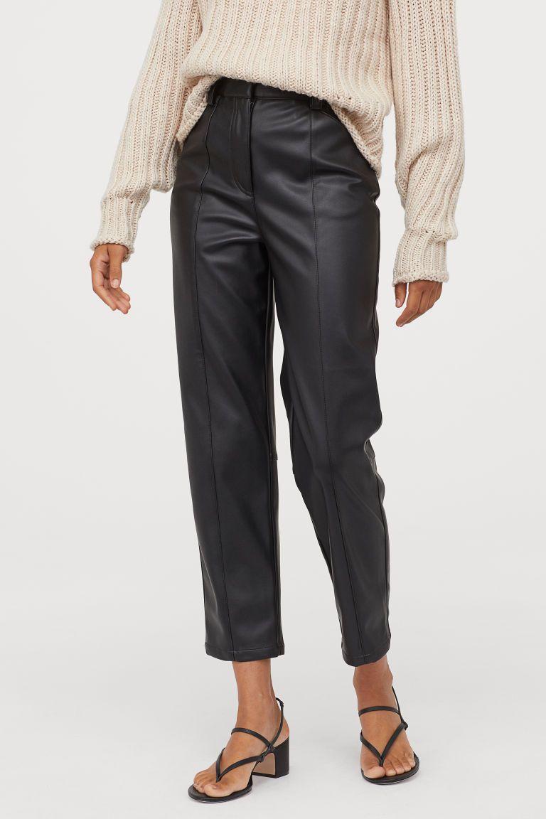 Faux Leather Pants - Black - Ladies | H&M US #leatherpantsoutfit