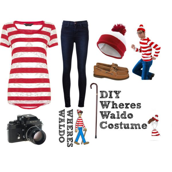 Wheres Waldo?! DIY Costume by amourestilo on Polyvore featuring polyvore, fashion, style, Dorothy Perkins, J Brand, Sperry, Elope, Nikon and clothing