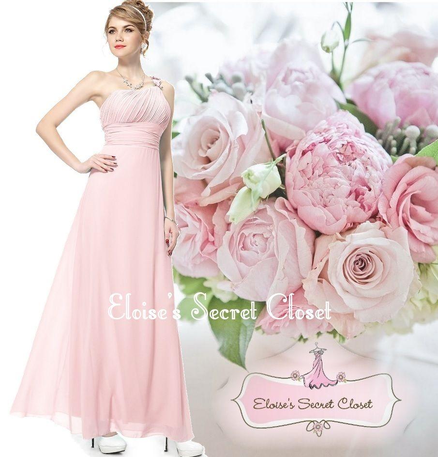 ROMA Pale Pink Corsage Chiffon Maxi Full Length Prom Bridesmaid ...