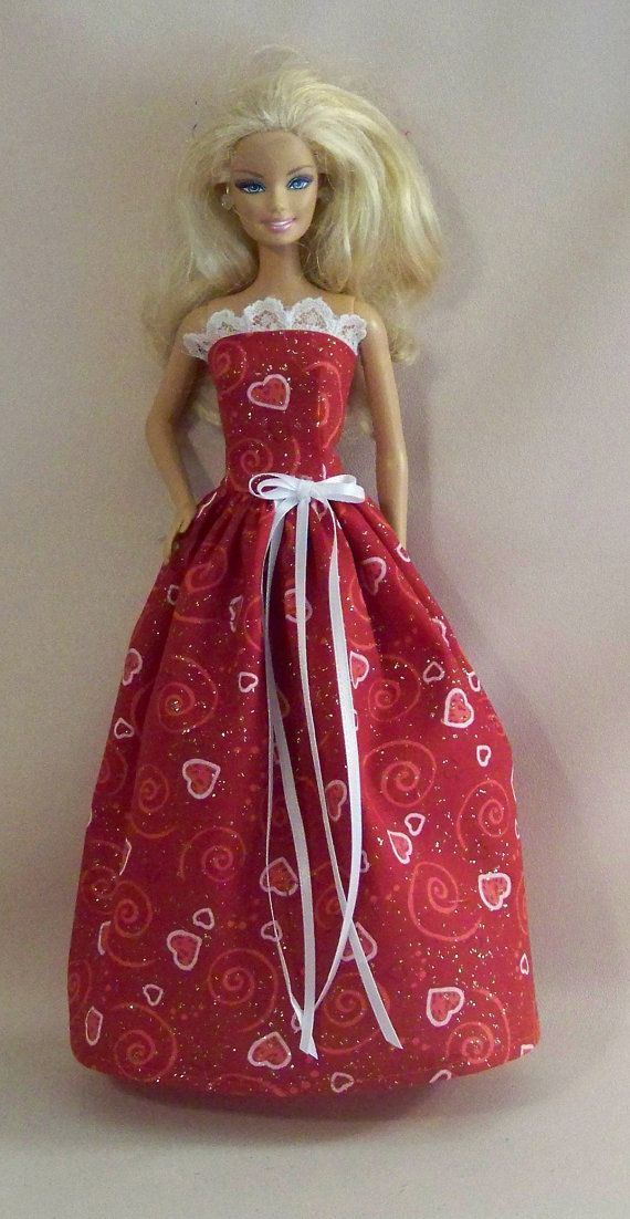 Handmade Barbie Clothes-Red Glitter Valentine Print Barbie Dress