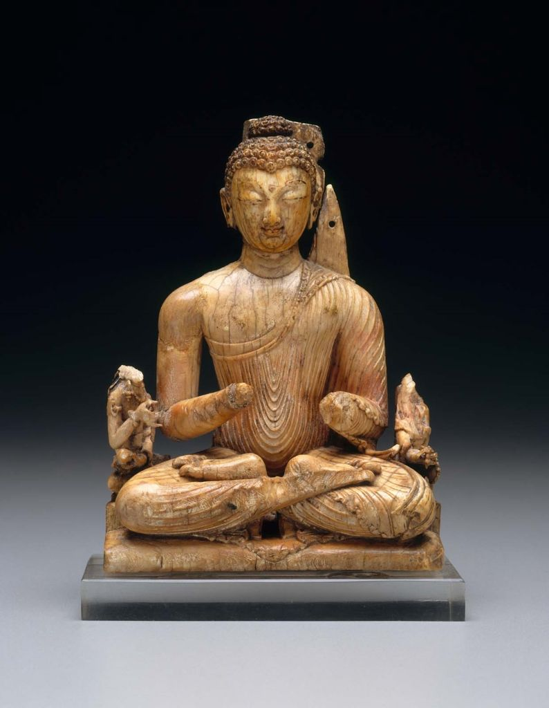 Seated Buddha With Attendant Bodhisattvas Indian Kashmir About 8th