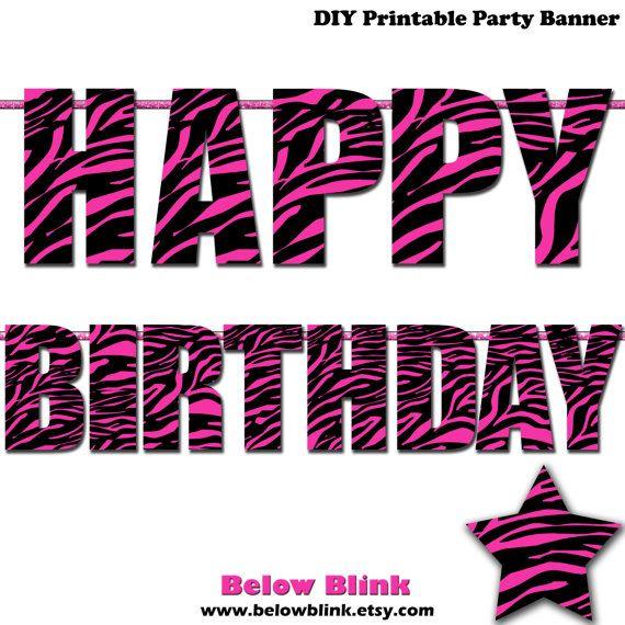 Zebra Happy Birthday Letter Banner Photo Prop Printable Banner Hot