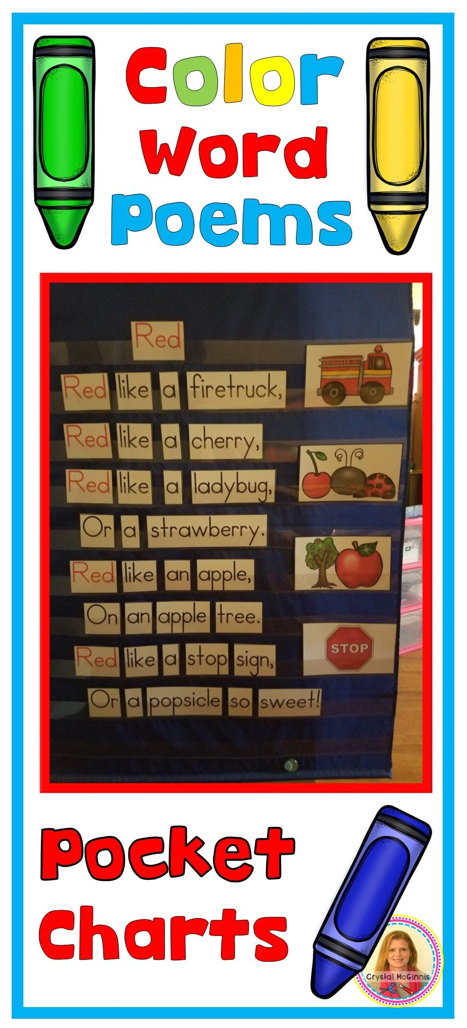 POCKET CHARTS! Color Word Poems for Shared Reading (Pocket Chart ...