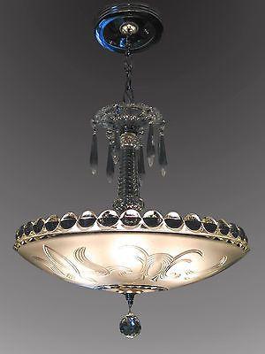 Frosted Glass Shade Vintage 1920 30 S Art Deco Chandelier Ceiling Light Fixture Art Deco Chandelier Antique Chandelier Chandelier Ceiling Lights