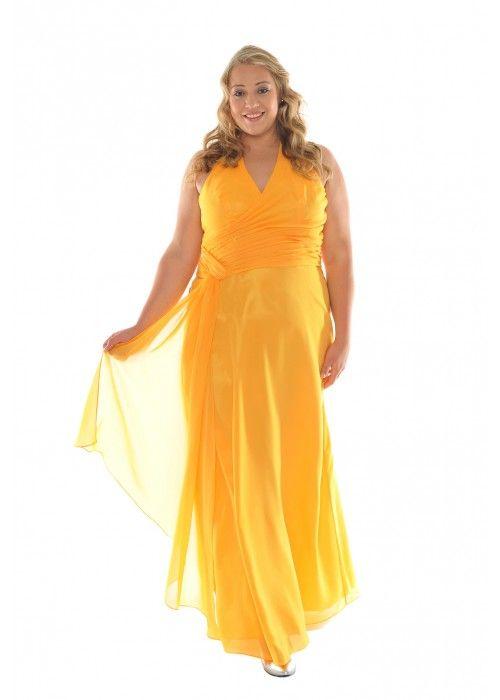 Edles Abendkleid mit Schal, XXL, Farbe goldgelb - Abendkleider Plus ...