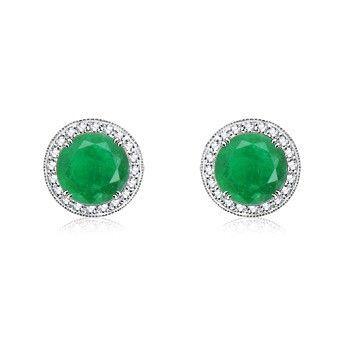 Angara Dangling Emerald Earrings with Diamond Border in Yellow Gold ObWIpO1e