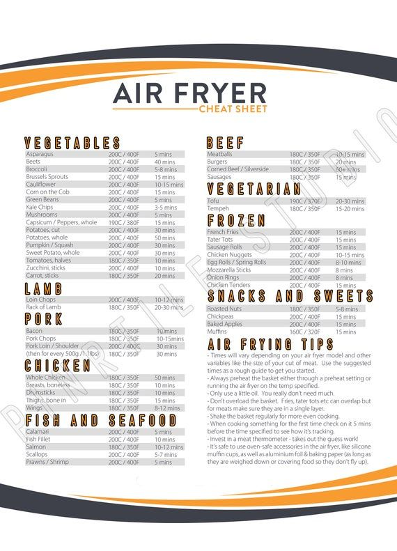 Air Fryer Cook Times Printable , Cook Time , Print