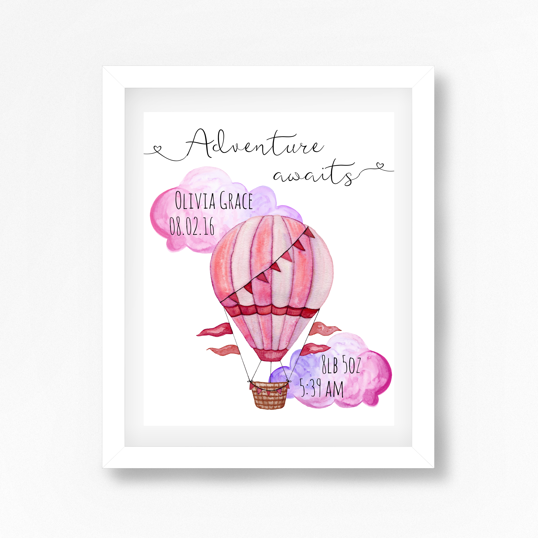 Personalised Hot Air Balloon Nursery Wall Art Prints ...