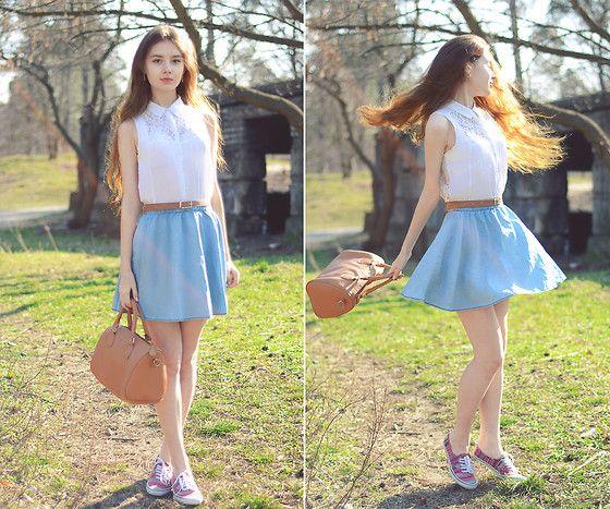 Bershka White Shirt, Topshop Denim Skirt, Sheinside Brown Bag ...