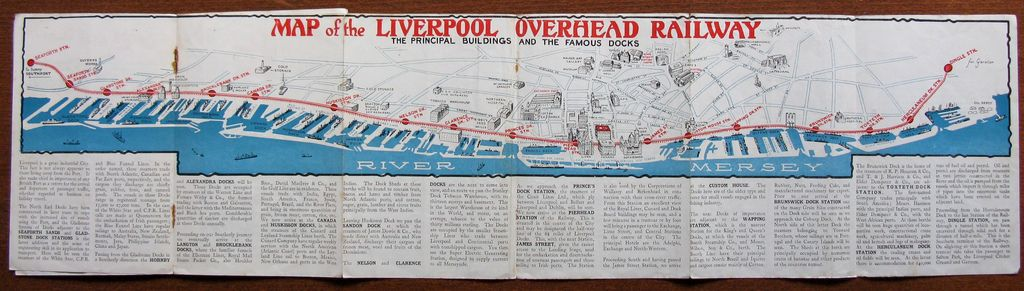 Historical Map Liverpool Overhead Railway C 1935 The Liverpool Overhead Railway Operated From 1893 To And Was A Unique Example Of An American Style