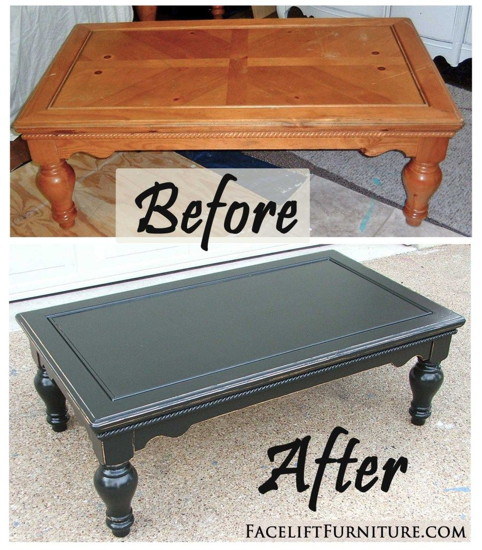chunky coffee table in distressed black