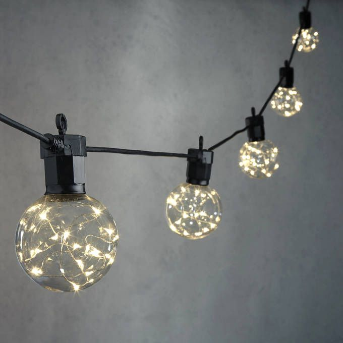 Celestial Globe String Lights With Silver Wire Leds Strand Of 10