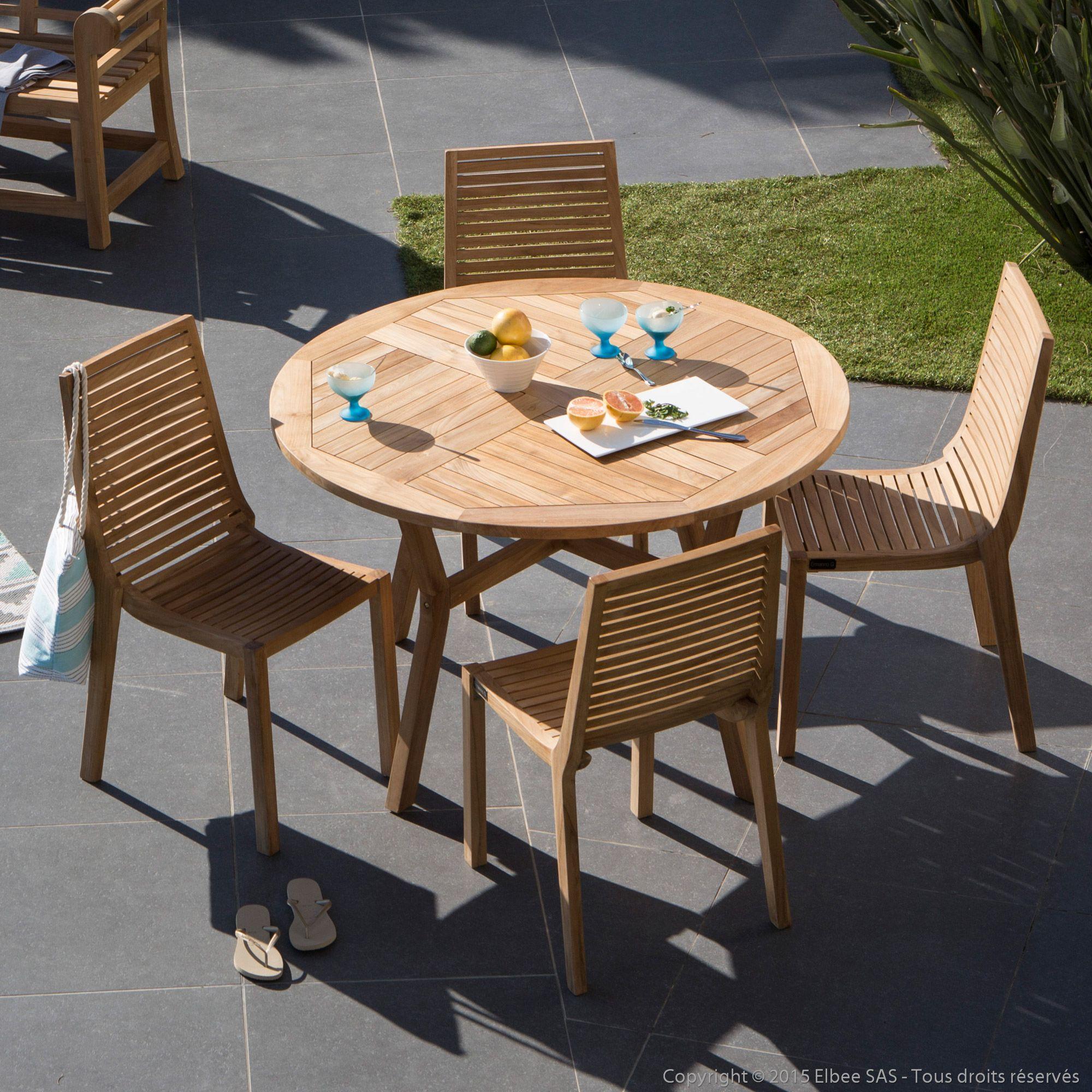 Salon de jardin 4 places en teck brut : 1 table ronde 120cm + 4 ...